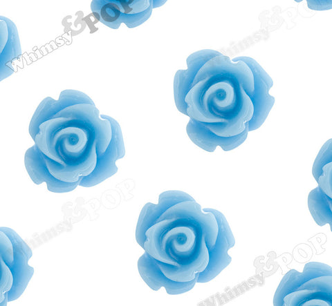 LIGHT BLUE 10mm Rose Flower Cabochons - WhimsyandPOP