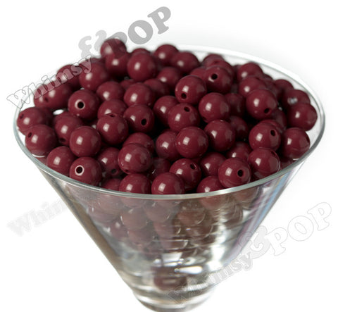 BURGUNDY 12mm Solid Gumball Beads - WhimsyandPOP