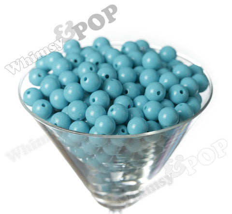 AQUA BLUE 12mm Solid Gumball Beads - WhimsyandPOP