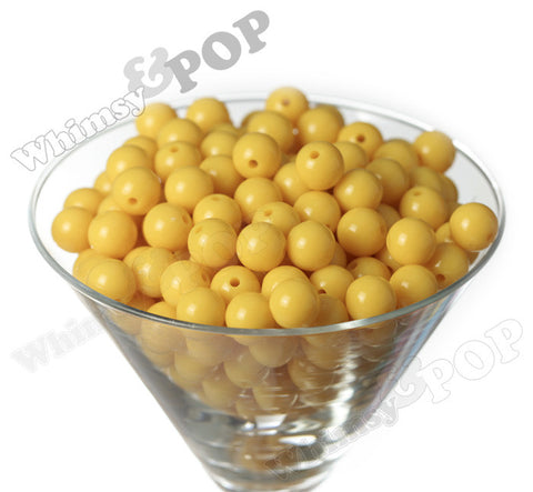 YELLOW 12mm Solid Gumball Beads - WhimsyandPOP