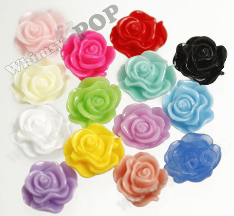 MIXED Color 13mm Classic Rose Flower Cabochons - WhimsyandPOP