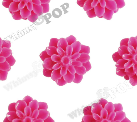 HOT PINK 15mm Dahlia Chrysanthemum Flower Cabochons - WhimsyandPOP