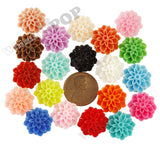 ORANGE 15mm Dahlia Chrysanthemum Flower Cabochons - WhimsyandPOP
