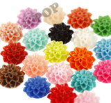 CORAL 15mm Dahlia Chrysanthemum Flower Cabochons - WhimsyandPOP