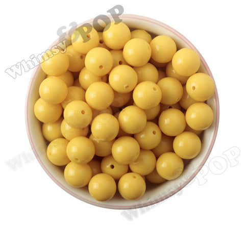 YELLOW 16mm Solid Gumball Beads - WhimsyandPOP