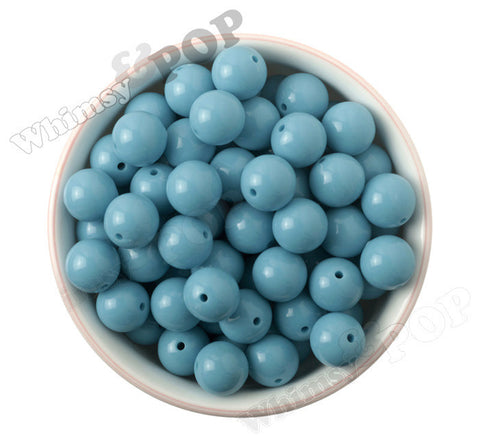 AQUA BLUE 16mm Solid Gumball Beads - WhimsyandPOP