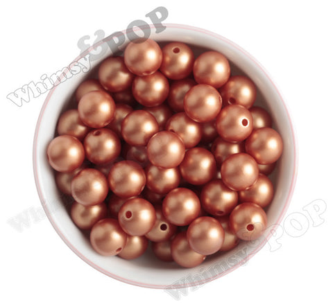 RUST ORANGE 16mm Matte Pearl Gumball Beads - WhimsyandPOP