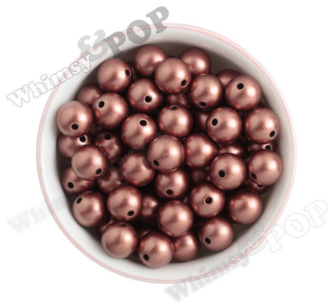 RED COPPER 16mm Matte Pearl Gumball Beads