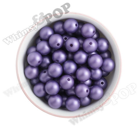 PURPLE 16mm Matte Pearl Gumball Beads