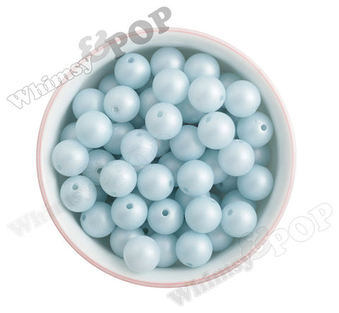 PASTEL BLUE 16mm Matte Pearl Gumball Beads