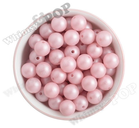 PINK 16mm Matte Pearl Gumball Beads