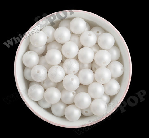 WHITE 16mm Matte Pearl Gumball Beads - WhimsyandPOP