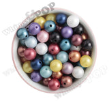 BLACK 16mm Matte Pearl Gumball Beads - WhimsyandPOP