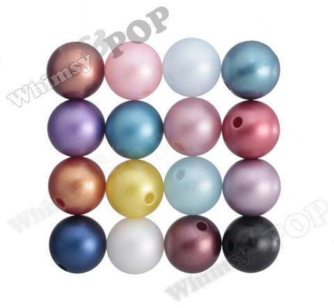 MIXED COLOR 16mm Matte Pearl Gumball Beads