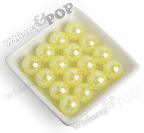 YELLOW 20mm AB Crackle Ice Cube Gumball Beads - WhimsyandPOP