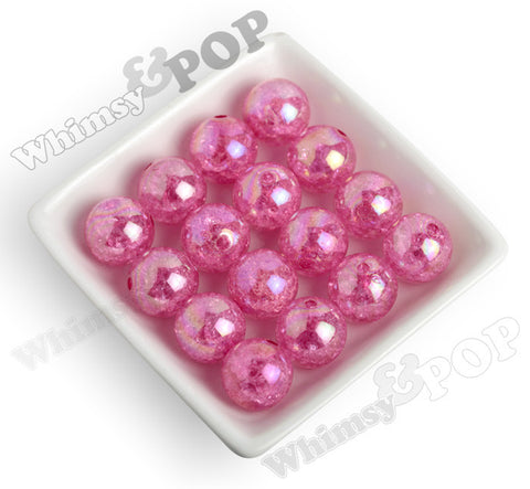 HOT PINK 20mm AB Crackle Ice Cube Gumball Beads - WhimsyandPOP