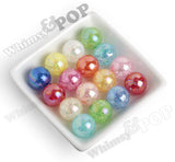 AQUA 20mm AB Crackle Ice Cube Gumball Beads - WhimsyandPOP