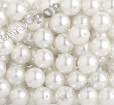 WHITE 20mm Metallic Pearl Gumball Beads - WhimsyandPOP