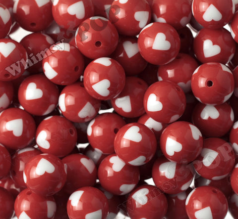 RED 20mm Heart Gumball Beads - WhimsyandPOP