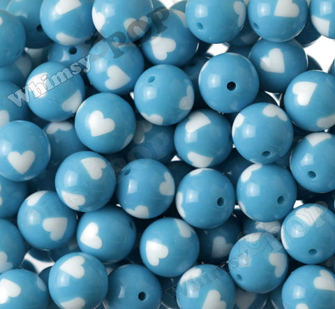 SKY BLUE 20mm Heart Gumball Beads