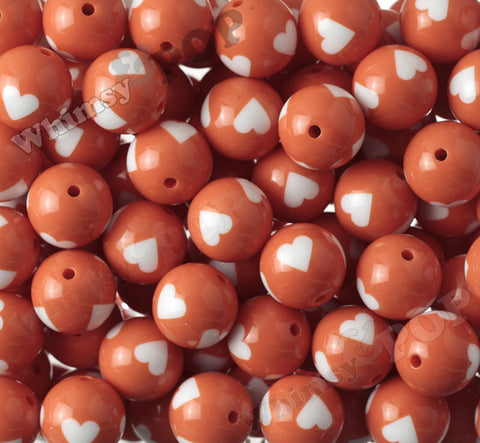 ORANGE 20mm Heart Gumball Beads - WhimsyandPOP