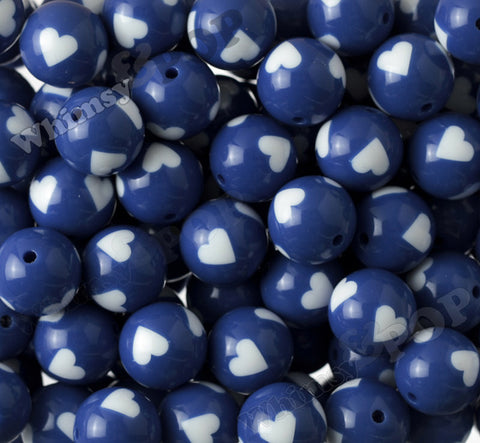 ROYAL BLUE 20mm Heart Gumball Beads - WhimsyandPOP