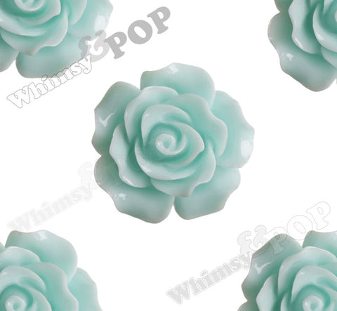 AQUA BLUE 20mm Large Detailed Flower Cabochons - WhimsyandPOP