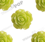LIME GREEN 20mm Large Detailed Flower Cabochons - WhimsyandPOP