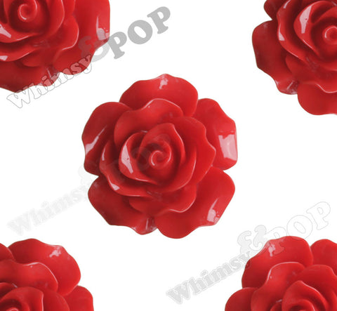 RED 20mm Large Detailed Flower Cabochons