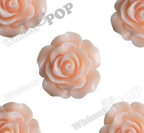 SHABBY CHIC PEACH 20mm Large Detailed Flower Cabochons