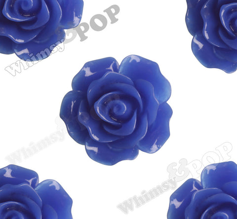ROYAL BLUE 20mm Large Detailed Flower Cabochons - WhimsyandPOP
