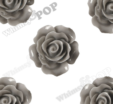 GRAY 20mm Large Detailed Flower Cabochons - WhimsyandPOP
