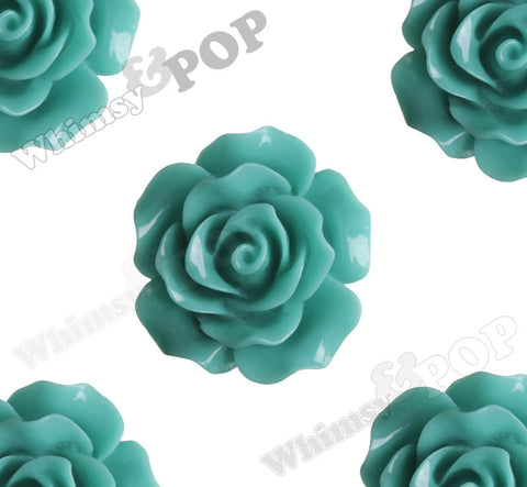 TEAL GREEN 20mm Large Detailed Flower Cabochons - WhimsyandPOP