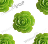 GREEN APPLE 20mm Large Detailed Flower Cabochons - WhimsyandPOP