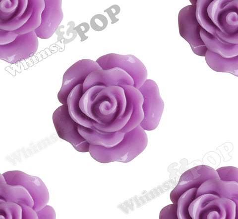 LILAC PURPLE 20mm Large Detailed Flower Cabochons - WhimsyandPOP
