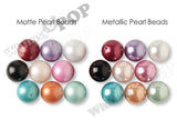 SILVER 20mm Metallic Pearl Gumball Beads