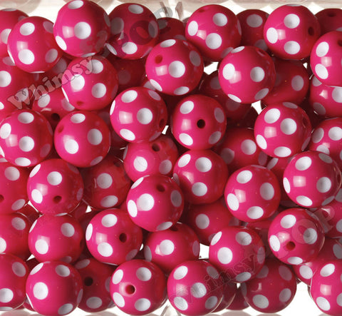 HOT PINK 20mm Polka Dot Gumball Beads - WhimsyandPOP