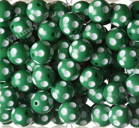 GREEN 20mm Polka Dot Gumball Beads - WhimsyandPOP