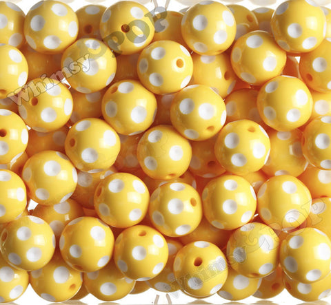 YELLOW 20mm Polka Dot Gumball Beads - WhimsyandPOP