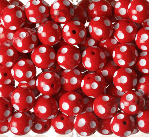 RED 20mm Polka Dot Gumball Beads - WhimsyandPOP