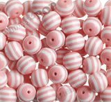 PINK 20mm Striped Gumball Beads - WhimsyandPOP