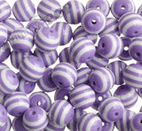 PURPLE 20mm Striped Gumball Beads - WhimsyandPOP
