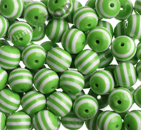 GREEN 20mm Striped Gumball Beads - WhimsyandPOP