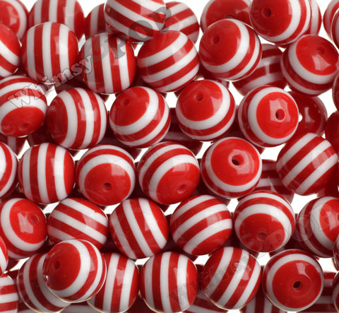 RED 20mm Striped Gumball Beads - WhimsyandPOP