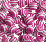 HOT PINK 20mm Striped Gumball Beads - WhimsyandPOP