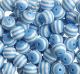 SKY BLUE 20mm Striped Gumball Beads
