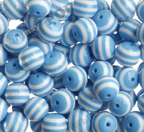 SKY BLUE 20mm Striped Gumball Beads - WhimsyandPOP