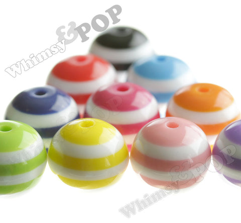 MIXED Color 20mm Striped Gumball Beads - WhimsyandPOP