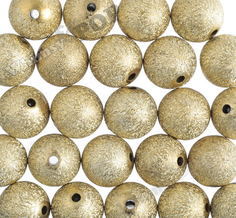 GOLD 20mm Textured Pearl Gumball Beads - WhimsyandPOP