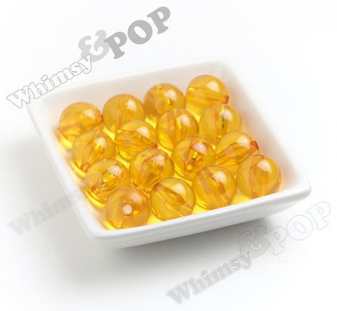 YELLOW 20mm Transparent Gumball Beads - WhimsyandPOP